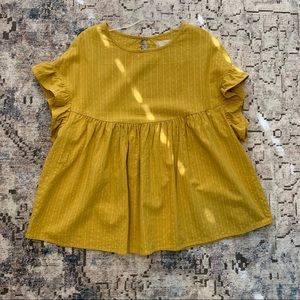 Altar'd State mustard & white stripes babydoll top